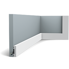 Flexible version of the SX162. Our simplest skirting board is part of the SQUARE family. Thanks to its Flex technology, curved walls and surfaces are no problem. Installation remark: It is necessary to screw this profile on the wall. Flex Radius: R min = 20 cm, R* min = 80 cm