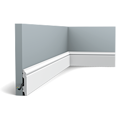 Flexible version of the SX165. Elegant, classic skirting board from the CONTOUR family which combines a minimalist design with gentle curlicues. Thanks to its Flex technology, curved walls and surfaces are no problem. Installation remark: It is necessary to screw this profile on the wall. Flex Radius: R min = 40 cm