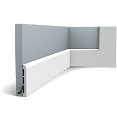 Skip to the beginning of the images gallery         Flexible version of the SX184. This multifunctional skirting board with rounded top provides endless possibilities. Thanks to its Flex technology, curved walls and surfaces are no problem. Installation remark: It is necessary to screw this profile on the wall. Flex Radius: R min = 45 cm