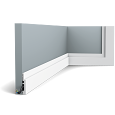 Flexible version of the SX187. The pure shape and perfect proportions of this smallest High Line skirting board create an ideal transition between floor and wall. Thanks to its Flex technology, curved walls and surfaces are no problem. Installation remark: It is necessary to screw this profile on the wall. Flex Radius: R min = 40 cm